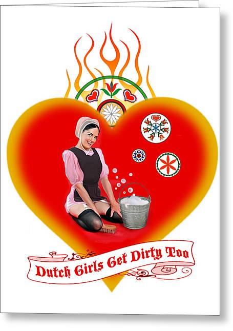 Amish Mixed Media Greeting Cards - Dutch Girls Greeting Card by Renee Reeser Zelnick