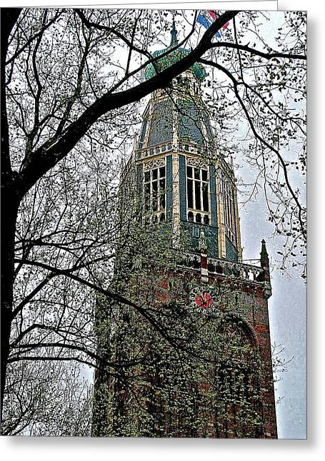 Reform Digital Greeting Cards - Dutch Reformed Church Tower in Enkhuizen-Netherlands Greeting Card by Ruth Hager