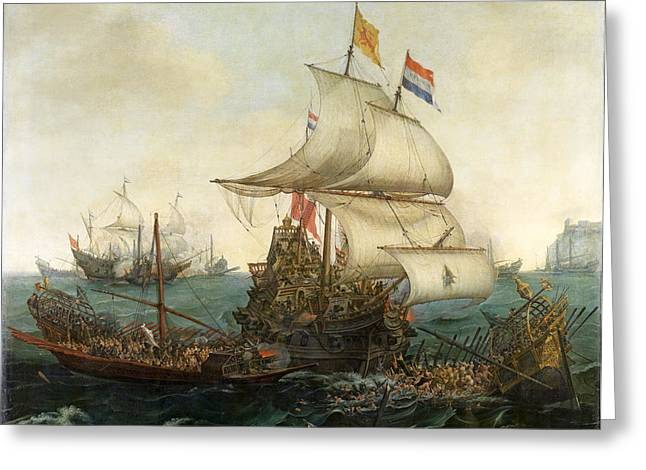 Hendrik Greeting Cards - Dutch ships ramming Spanish galleys off the English coast Greeting Card by Hendrik Cornelisz Vroom