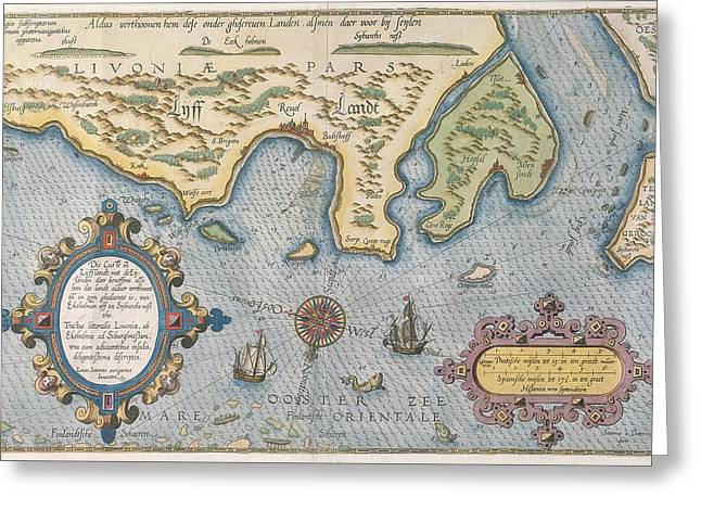 Dutch Trade Map Of The Baltic Sea Hand-coloured Engraving Greeting Card by Dutch School