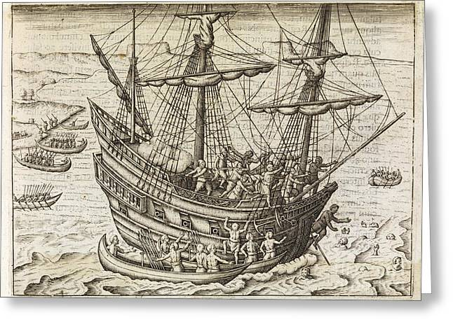 Pirate Ships Greeting Cards - Dutch Under Attack In Java, 17th Century Greeting Card by Middle Temple Library