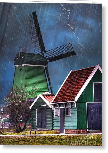 17th Greeting Cards - Dutch Windmill Greeting Card by Juli Scalzi