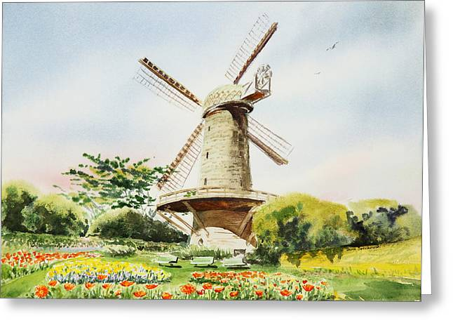 Golden Gate Paintings Greeting Cards - Dutch Windmill in San Francisco  Greeting Card by Irina Sztukowski