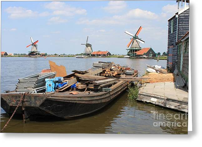 Zaans Greeting Cards - Dutch windmills at River Zaan Greeting Card by Jan Bronkhorst