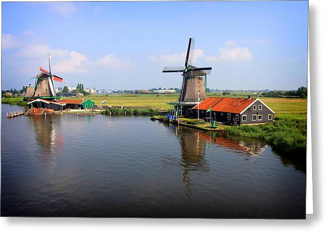 Zaans Greeting Cards - Dutch Windmills Greeting Card by Nancy Ingersoll