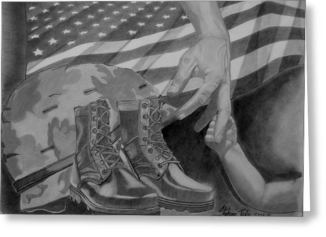 Military Hero Drawings Greeting Cards - Duty Calls Greeting Card by Stephanie Taylor
