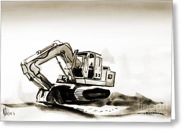 Dozer Greeting Cards - Duty Dozer in Sepia Greeting Card by Kip DeVore