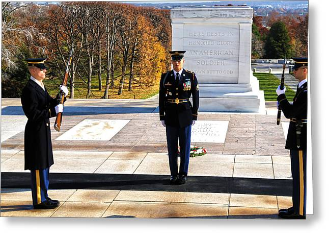 Soldiers National Cemetery Greeting Cards - Duty Greeting Card by Mitch Cat