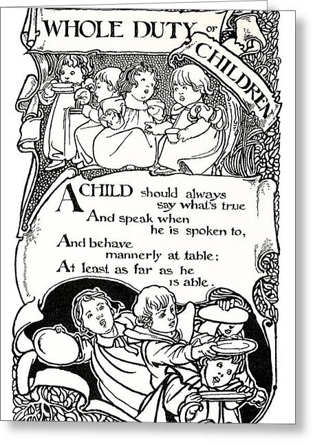 Nursery Rhyme Greeting Cards - DUTY of CHILDREN  1895 Greeting Card by Daniel Hagerman