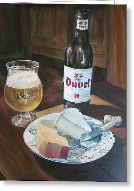 Recently Sold -  - Wine-glass Greeting Cards - Duvel and Cheese Greeting Card by Jennifer Lycke