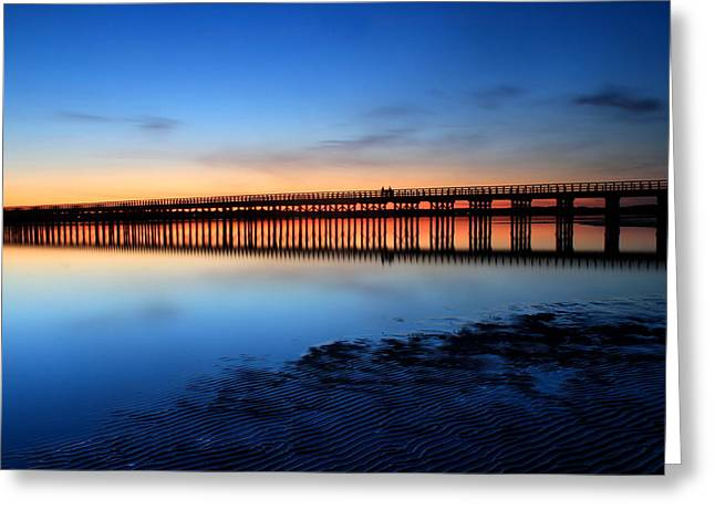 Duxbury Greeting Cards - Duxbury Beach Powder Point Bridge Twilight Greeting Card by John Burk