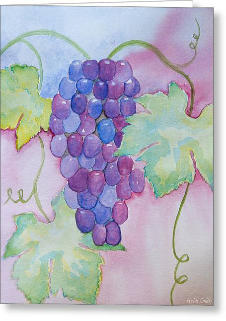 Blue Grapes Greeting Cards - DVine Delight Greeting Card by Heidi Smith