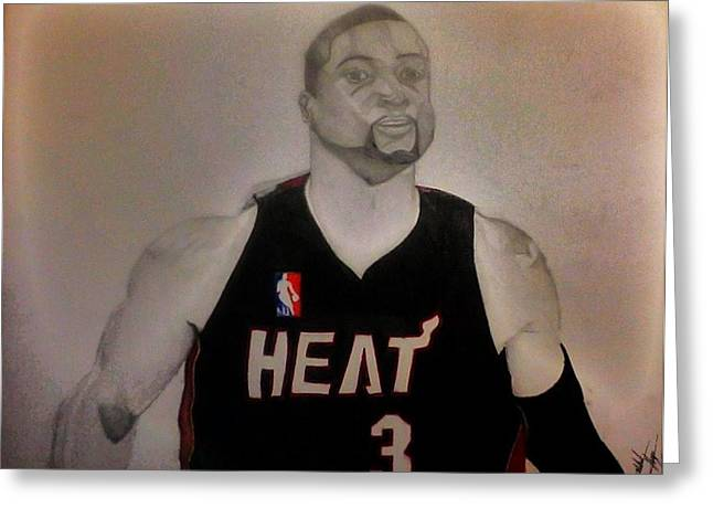 Miami Heat Drawings Greeting Cards - D.Wade Greeting Card by Michael Hugue