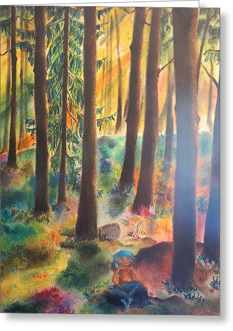 Moss Pastels Greeting Cards - Dwarf in Wermlands forest Greeting Card by Rosa Garcia Sanchez