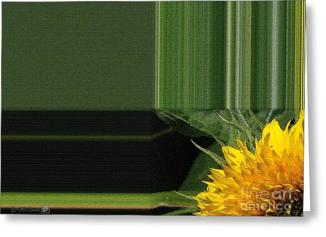 Floral Digital Art Digital Art Greeting Cards - Dwarf Sunflower named Teddy Bear Greeting Card by J McCombie