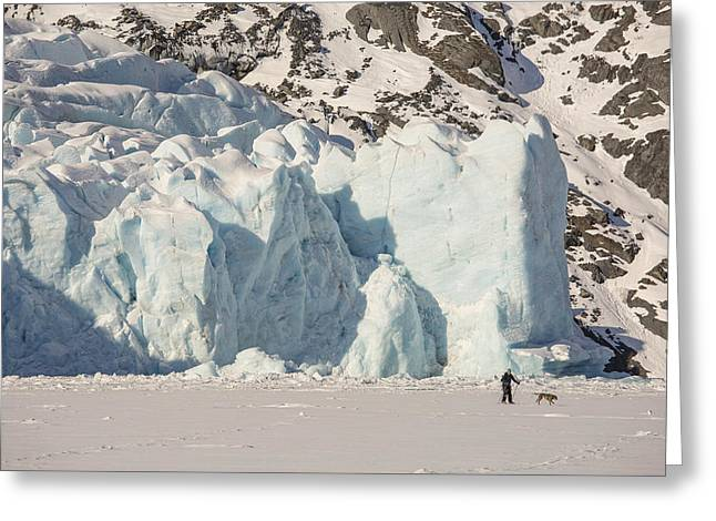 Portage Photographs Greeting Cards - Dwarfed by a Glacier Greeting Card by Tim Grams