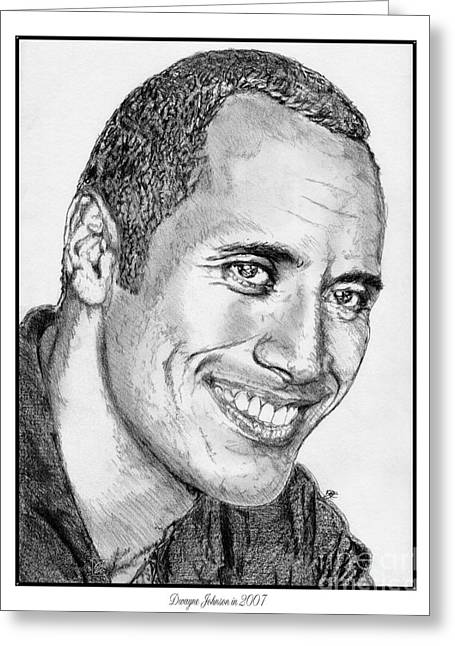 Fame Drawings Greeting Cards - Dwayne Johnson in 2007 Greeting Card by J McCombie