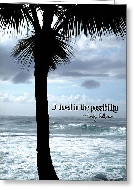 Dwell Greeting Cards - DWELL IN PARADISE quote Greeting Card by JAMART Photography
