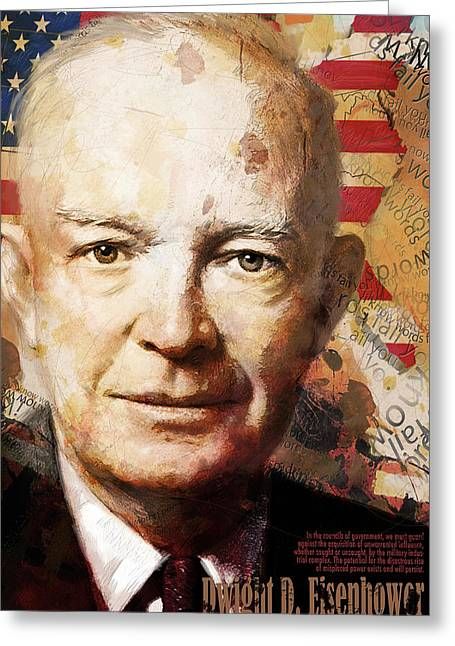 Jefferson Paintings Greeting Cards - Dwight D. Eisenhower Greeting Card by Corporate Art Task Force