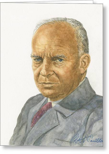 President Pastels Greeting Cards - Dwight D. Eisenhower Greeting Card by Robert Casilla