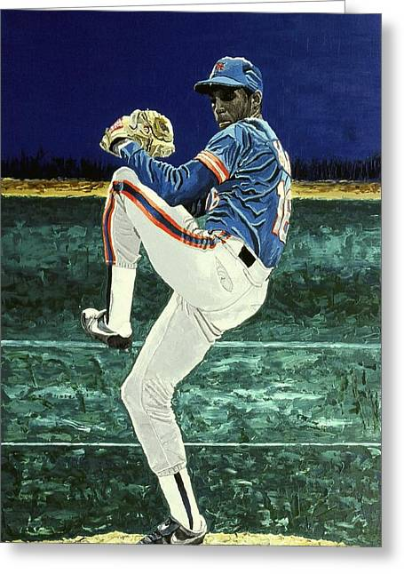 League Paintings Greeting Cards - Dwight Gooden - New York Mets Greeting Card by Mike Rabe