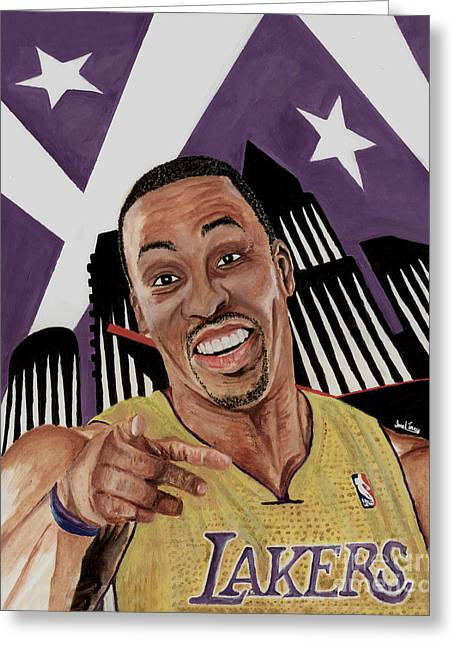 Lakers Paintings Greeting Cards - Dwight Howard Welcome to the  Lake Show Greeting Card by Israel Torres
