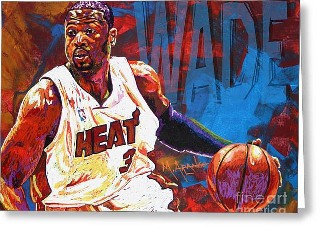 D Wade Greeting Cards - Dwyane Wade 2 Greeting Card by Maria Arango