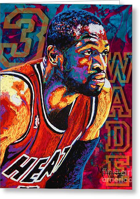 Miami Paintings Greeting Cards - Dwyane Wade 3 Greeting Card by Maria Arango