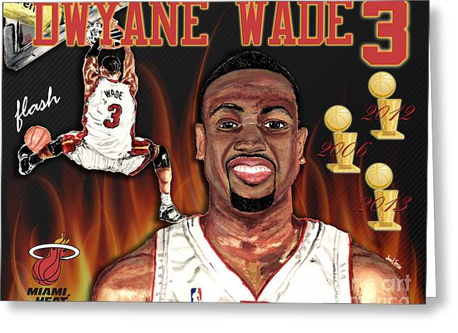 Miami Heat Posters Greeting Cards - Dwyane Wade Greeting Card by Israel Torres