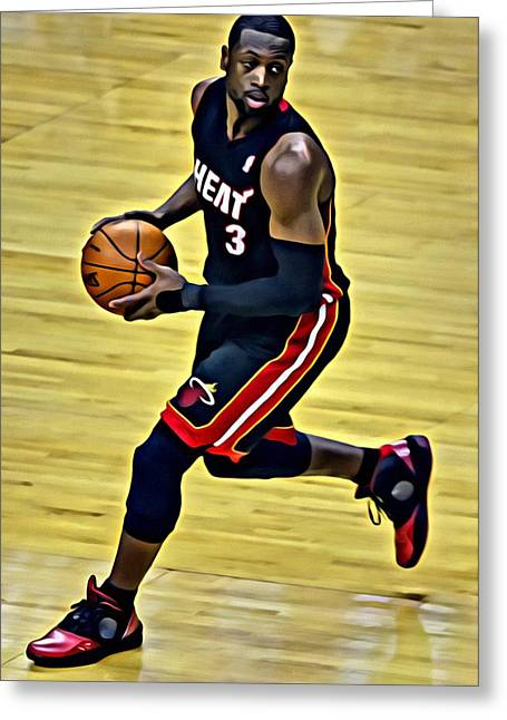 Miami Heat Posters Greeting Cards - Dwyane Wade Portrait Greeting Card by Florian Rodarte