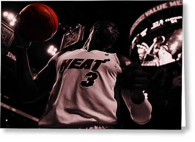 Miami Heat Digital Art Greeting Cards - Dwyane Wade Ready to Go Greeting Card by Brian Reaves