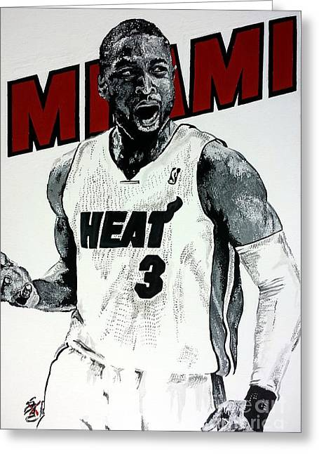 Miami Heat Greeting Cards - Dwyane  Wade Greeting Card by S G Williams