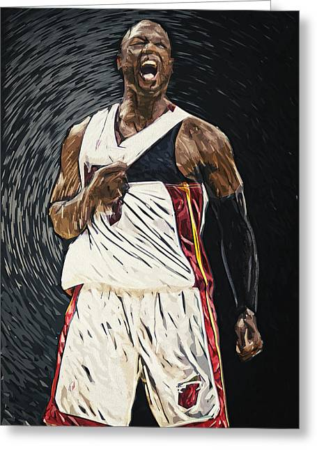 Miami Heat Digital Art Greeting Cards - Dwyane Wade Greeting Card by Taylan Soyturk