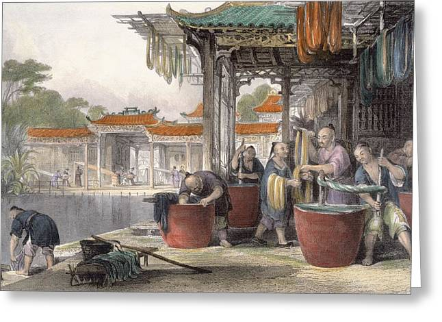 Vat Greeting Cards - Dyeing And Winding Silk, From China Greeting Card by Thomas Allom