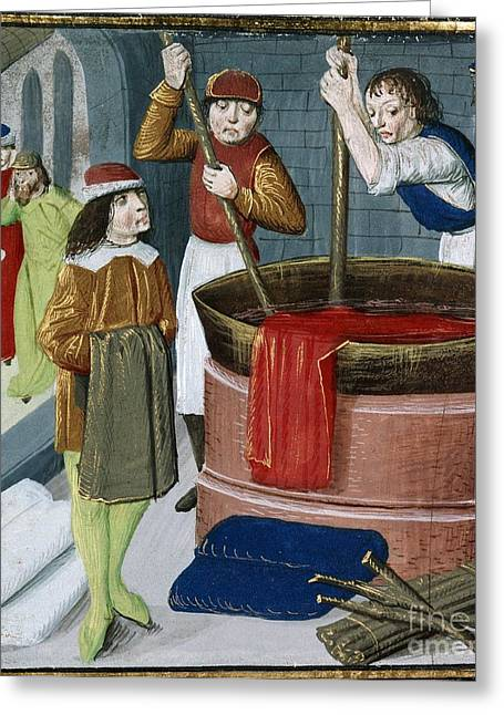 White Cloth Greeting Cards - Dyeing Cloth, 15th-century Manuscript Greeting Card by British Library