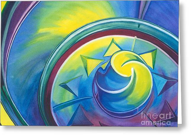 Blue And Purple Abstract Greeting Cards - Color Swirl Greeting Card by Barbara Jewell