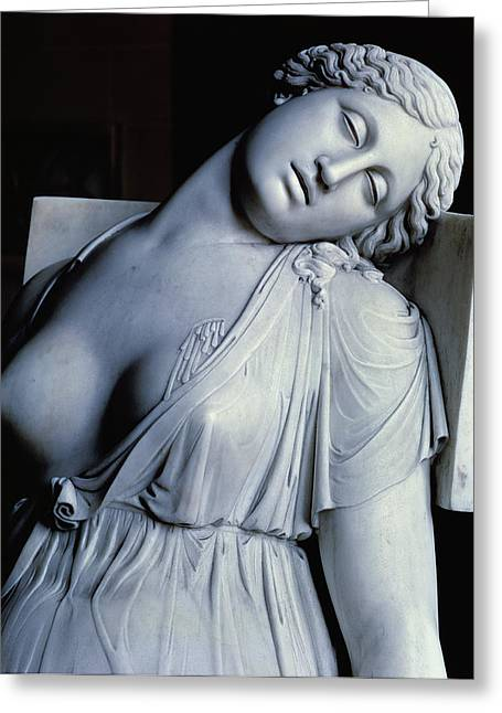 Dripping Paintings Greeting Cards - Dying Lucretia  Greeting Card by Damian Buenaventura Campeny y Estrany