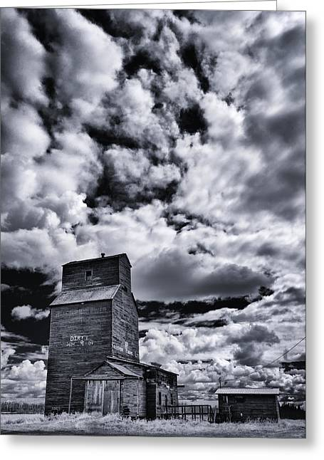 Old Farm Greeting Cards - Dying Prairies Greeting Card by Ian MacDonald