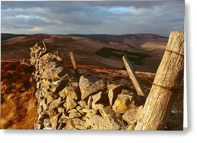 Border Photographs Greeting Cards - Dyke Wall, Lee Penn, Scottish Borders Greeting Card by Panoramic Images