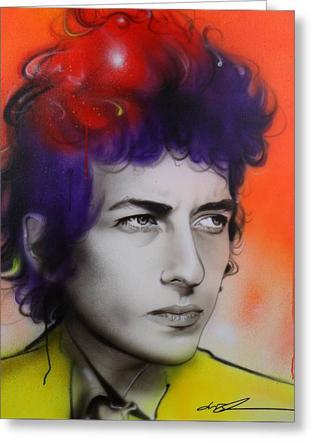 Bob Dylan - ' Dylan ' Greeting Card by Christian Chapman Art