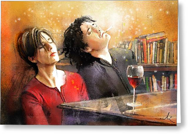 Smoking Book Greeting Cards - Dylan Moran and Tamsin Greig in Black Books Greeting Card by Miki De Goodaboom