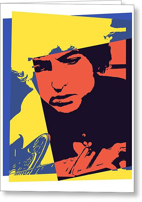 Music Time Greeting Cards - Dylan Pop Art Greeting Card by Dan Sproul