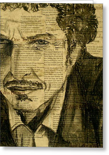 Mustaches Mixed Media Greeting Cards - Dylan the Poet Greeting Card by Debi Starr