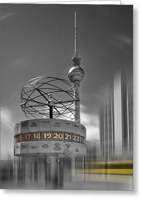Clock Greeting Cards - Dynamic-Art BERLIN City-Centre Greeting Card by Melanie Viola