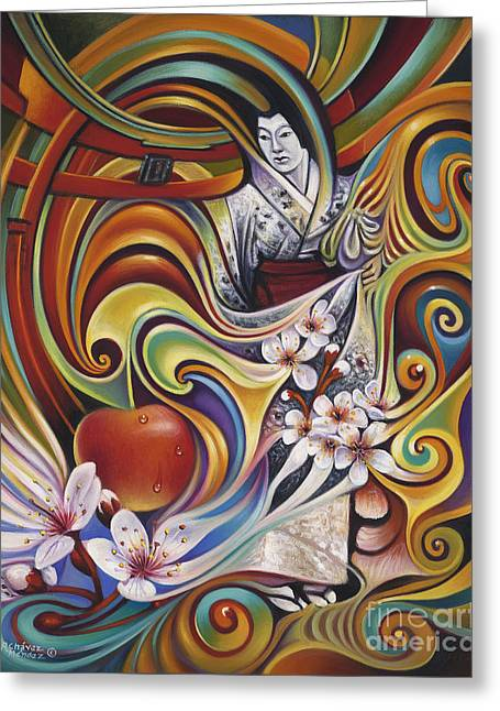 Flor Greeting Cards - Dynamic Blossoms Greeting Card by Ricardo Chavez-Mendez