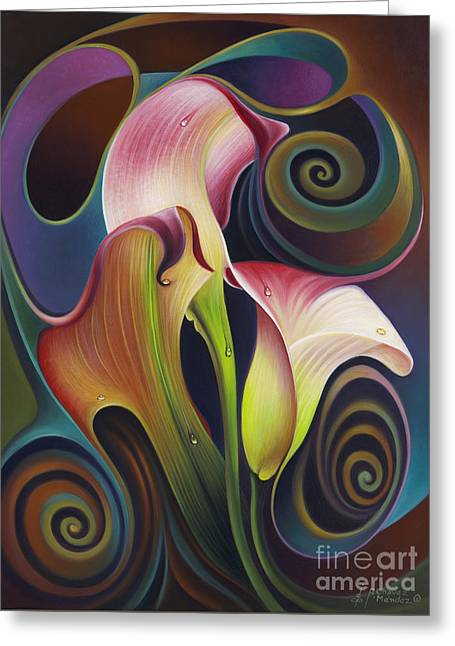 Dynamic Floral 4 Cala Lillies Greeting Card by Ricardo Chavez-Mendez