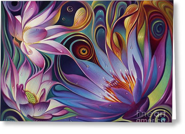 Lotus Flowers Greeting Cards - Dynamic Floral Fantasy Greeting Card by Ricardo Chavez-Mendez
