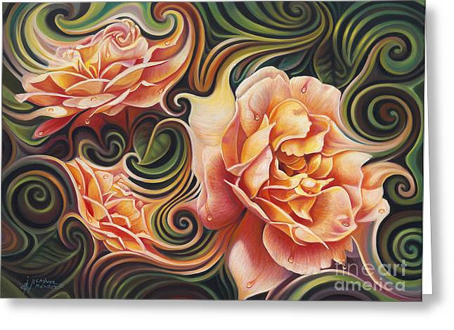 Oro Greeting Cards - Dynamic Floral V  Roses Greeting Card by Ricardo Chavez-Mendez