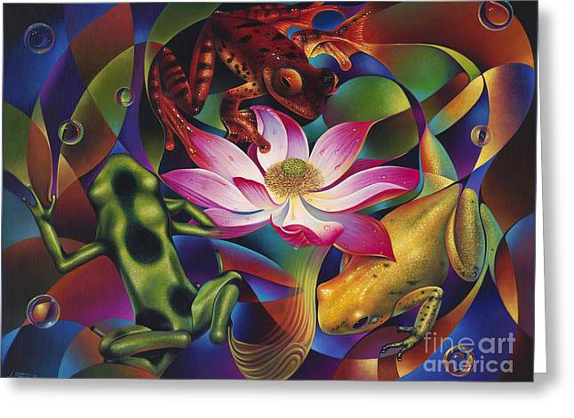 Spheres Paintings Greeting Cards - Dynamic Frogs Greeting Card by Ricardo Chavez-Mendez