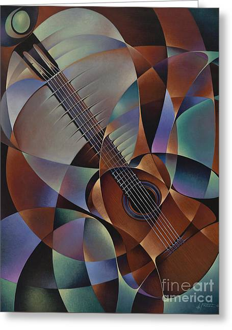 Violin Bows Violin Bows Greeting Cards - Dynamic Guitar Greeting Card by Ricardo Chavez-Mendez